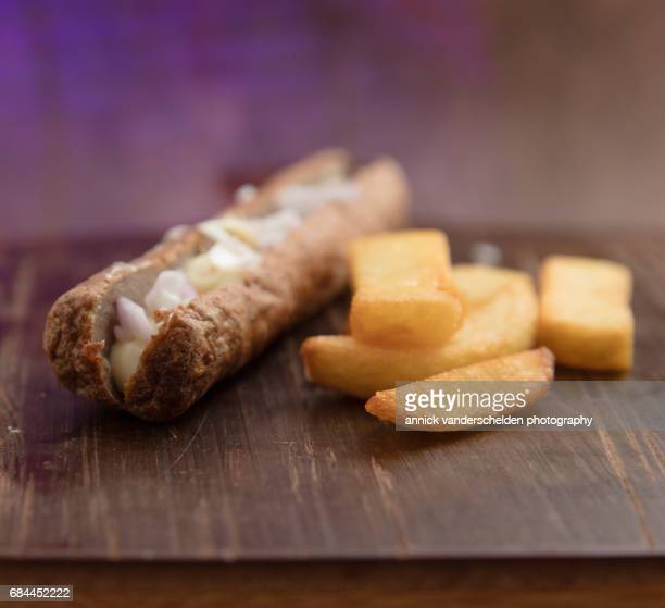 Frikandel, French fries and mayonnaise.