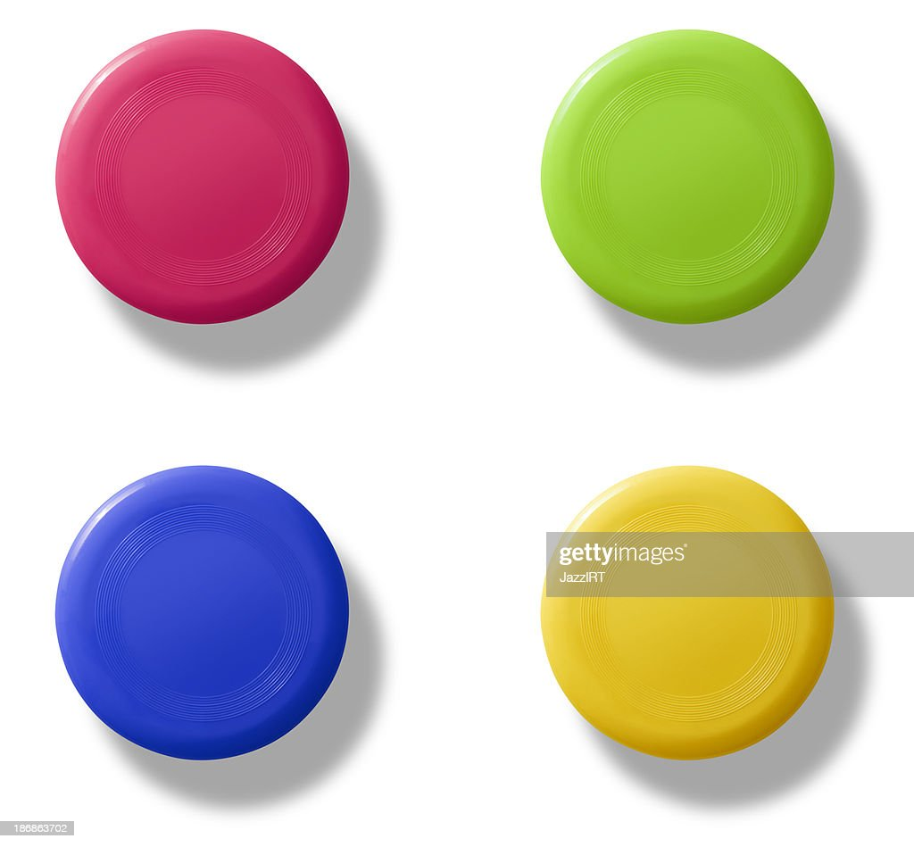 Frisbee group (isolated with clipping path over white background