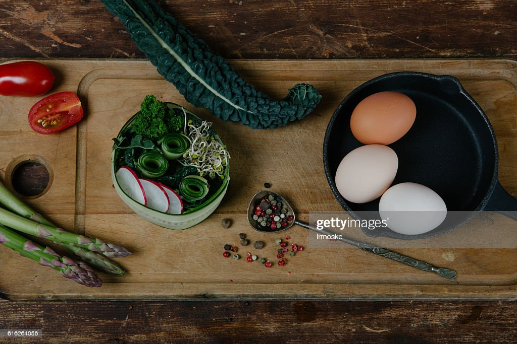Frittata with asparagus ingridiens : Stock Photo