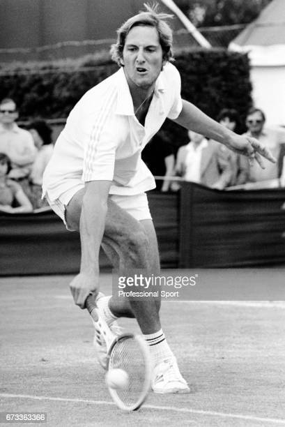 Fritz Buehning of the United States in action during the Wimbledon Championships held at the All England Lawn Tennis and Croquet Club in Wimbledon...