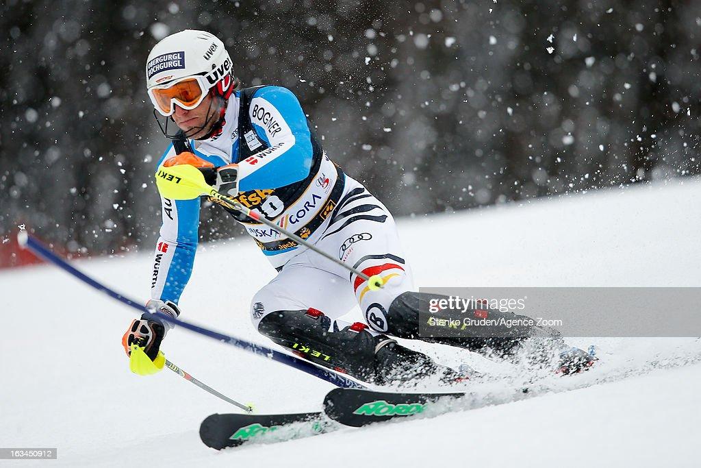 Fritz Dopfer of Germany competes during the Audi FIS Alpine Ski World Cup Men's Slalom on March 10, 2013 in Kranjska Gora, Slovenia.