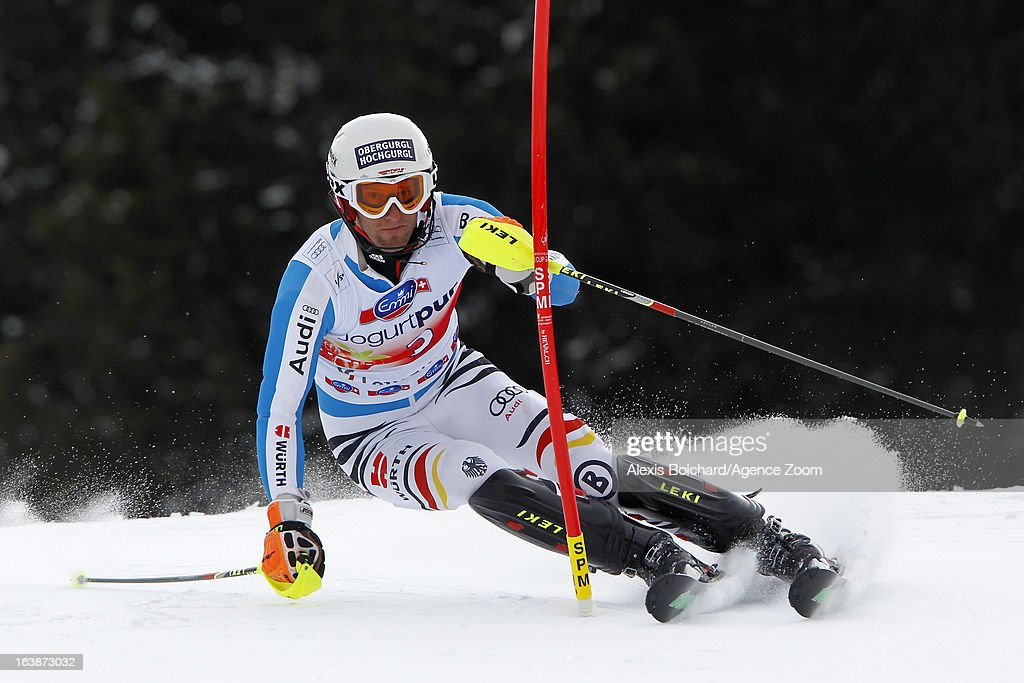 Fritz Dopfer of Germany competes during the Audi FIS Alpine Ski World Cup Men's Slalom on March 17, 2013 in Lenzerheide, Switzerland.