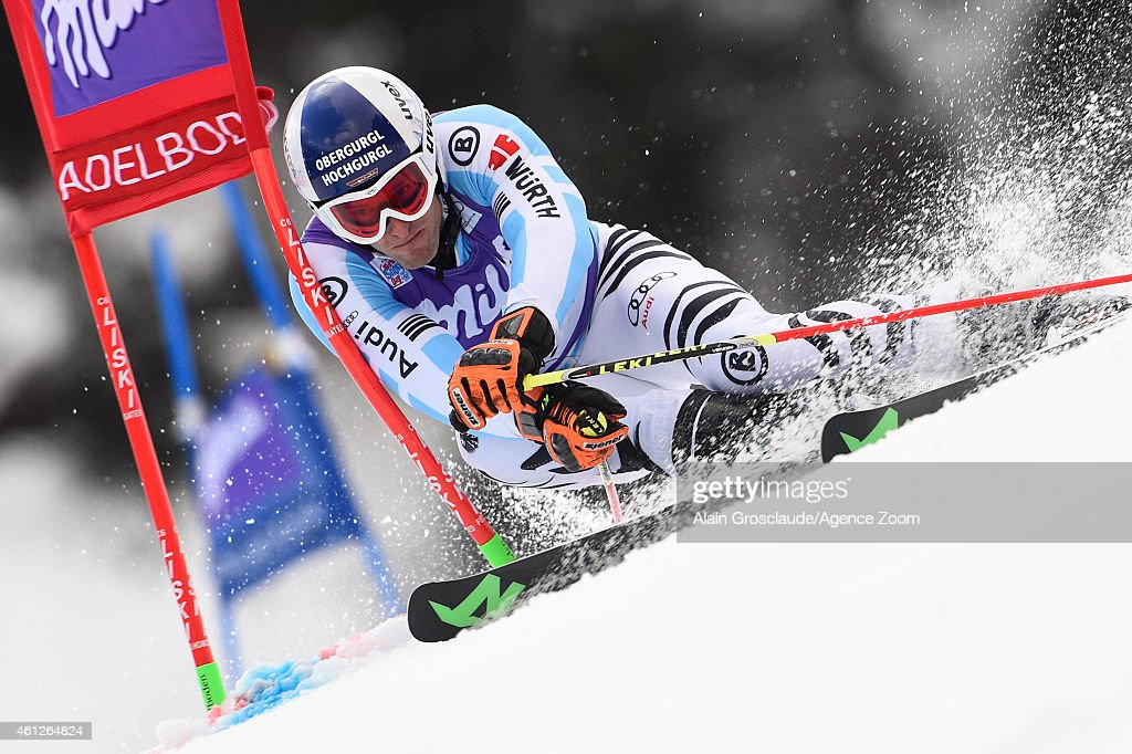 <a gi-track='captionPersonalityLinkClicked' href=/galleries/search?phrase=Fritz+Dopfer&family=editorial&specificpeople=5639346 ng-click='$event.stopPropagation()'>Fritz Dopfer</a> of Germany competes during the Audi FIS Alpine Ski World Cup Men's Giant Slalom on January 10, 2015 in Adelboden, Switzerland.