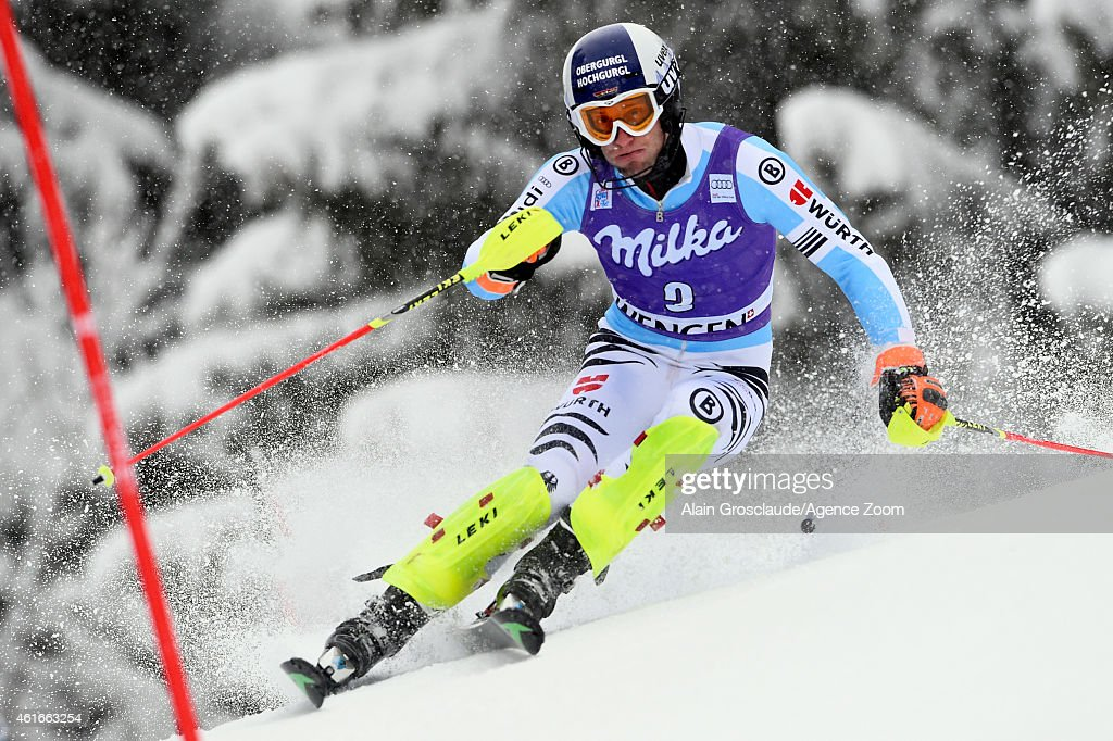 <a gi-track='captionPersonalityLinkClicked' href=/galleries/search?phrase=Fritz+Dopfer&family=editorial&specificpeople=5639346 ng-click='$event.stopPropagation()'>Fritz Dopfer</a> of Germany competes during the Audi FIS Alpine Ski World Cup Men's Slalom on January 17, 2015 in Wengen, Switzerland.