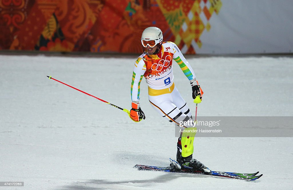 <a gi-track='captionPersonalityLinkClicked' href=/galleries/search?phrase=Fritz+Dopfer&family=editorial&specificpeople=5639346 ng-click='$event.stopPropagation()'>Fritz Dopfer</a> of Germany reacts after finishing the second run during the Men's Slalom during day 15 of the Sochi 2014 Winter Olympics at Rosa Khutor Alpine Center on February 22, 2014 in Sochi, Russia.