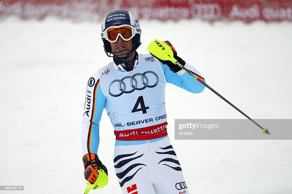 <a gi-track='captionPersonalityLinkClicked' href=/galleries/search?phrase=Fritz+Dopfer&family=editorial&specificpeople=5639346 ng-click='$event.stopPropagation()'>Fritz Dopfer</a> of Germany reacts during the Men's Slalom on the Birds of Prey racecourse on Day 14 of the 2015 FIS Alpine World Ski Championships on February 15, 2015 in Beaver Creek, Colorado.