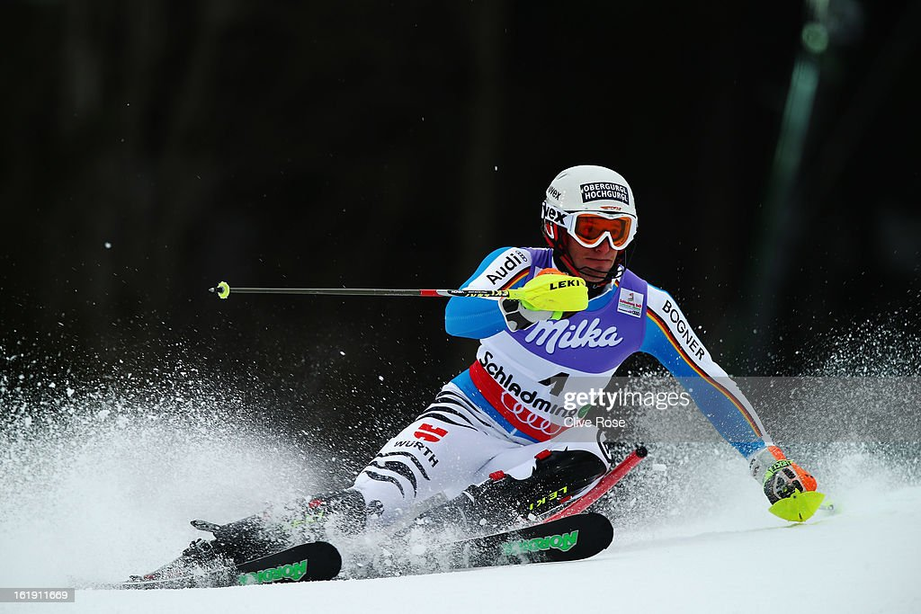 Fritz Dopfer of Germany skis in the Men's Slalom during the Alpine FIS Ski World Championships on February 17 2013 in Schladming Austria