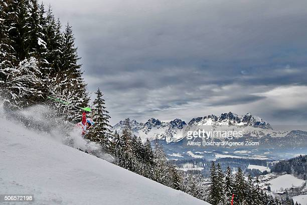 Fritz Dopfer of Germany takes the 2nd place during the Audi FIS Alpine Ski World Cup Men's Slalom on January 24 2016 in Kitzbuehel Austria