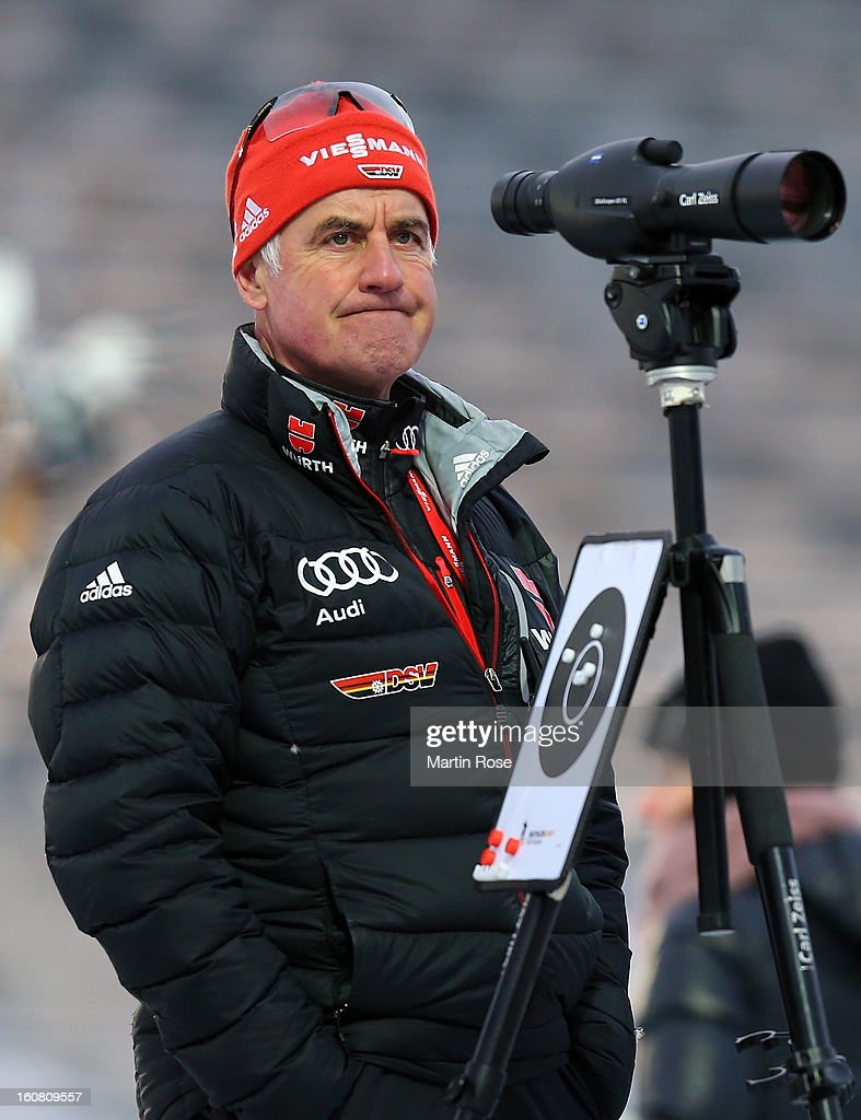 Fritz Fischer,coach of the German Biathlon men's team reacts during an offical training session at Vysocina Arena on February 6, 2013 in Nove Mesto na Morave, Czech Republic.