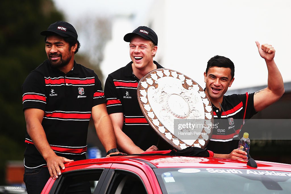Fritz Lee Baden Kerr and Sherwin Stowers of Counties Manukau thank supporters during a victory parade with the Ranfurly Shield on September 9 2013 in...