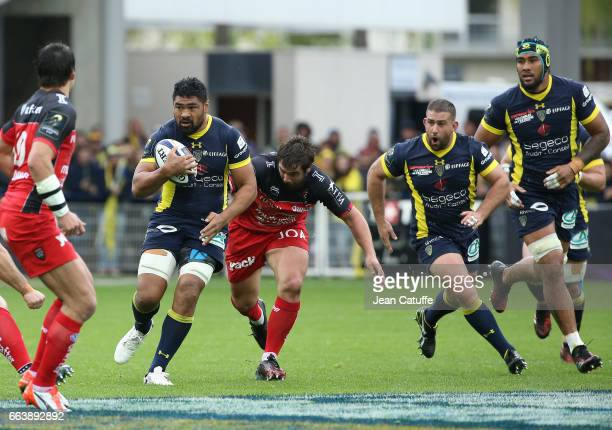 Fritz Lee of ASM Clermont Laurent Delboulbes of RC Toulon Raphael Chaume Sebastien Vahaamahina of ASM Clermont in action during the European Rugby...