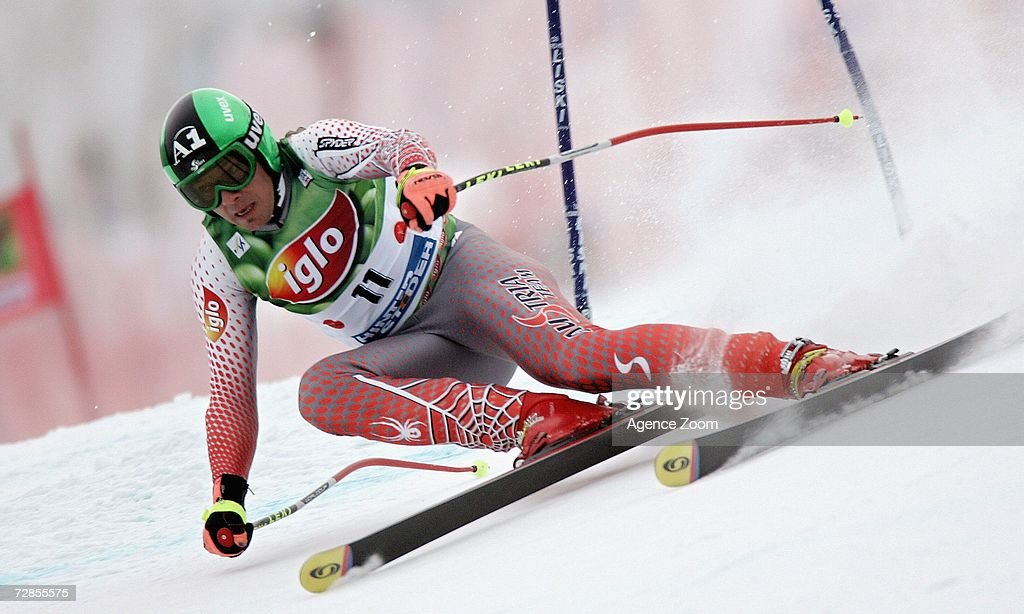 Fritz Strobl of Austria competes on his way to taking 5th place during the FIS Skiing World Cup Men's Super-G on December 20, 2006 in Hinterstoder, Austria.