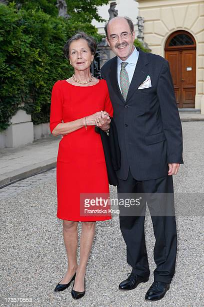 Fritz von Thurn und Taxis and his wife Beatrix von Thurn und Taxis attend the opera 'La Traviata' at the Thurn Taxis Castle Festival Opening on July...