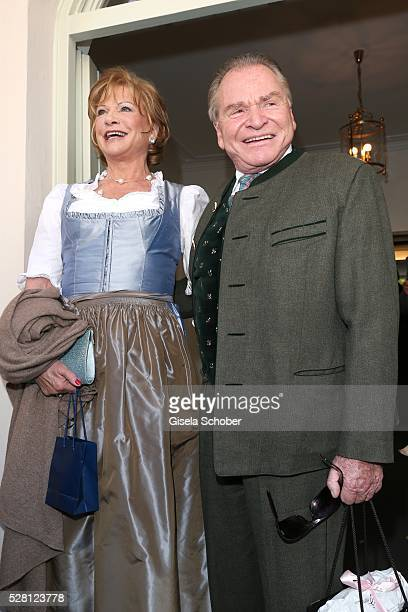 Fritz Wepper and his wife Angela Wepper parents of Sophie Wepper during the wedding of Sophie Wepper and David Meister outside the registry office at...