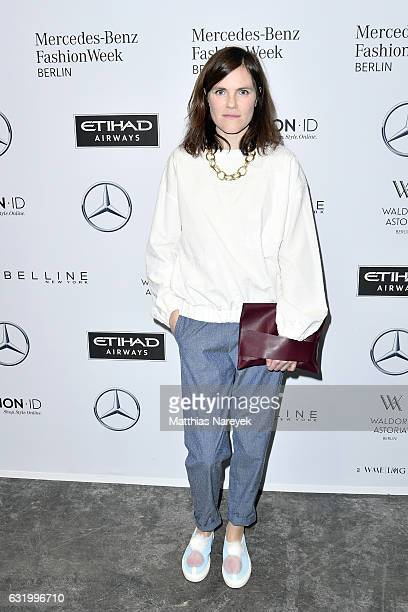 Fritzi Haberlandt attends the Perret Schaad show during the MercedesBenz Fashion Week Berlin A/W 2017 at Kaufhaus Jandorf on January 18 2017 in...