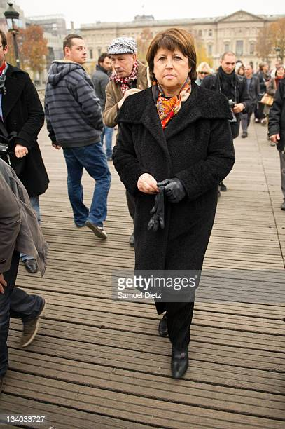 Frnech Socialist Party First Secretary Martine Aubry attends a tribute to Danielle Mitterrand at Pont des Arts on November 24 2011 in Paris France...