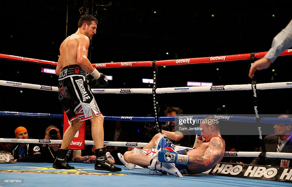 Froch knocks out Groves during the Carl Froch v George Groves World Supermiddleweight fight at Wembley Stadium on May 31st 2014 in London