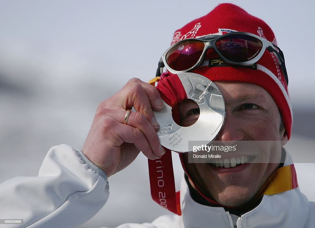 Frode Estil of Norway wins the Silver Medal in the Mens Cross Country Skiing 30km Pursuit Final on Day 2 of the 2006 Turin Winter Olympic Games on...
