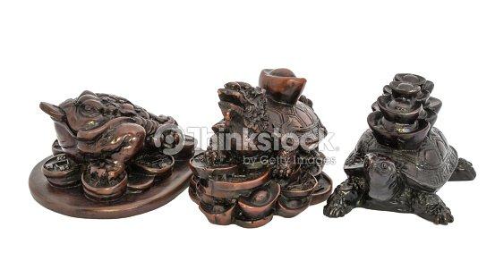 Grenouille Dragon De Tortue Et De Turtle Feng Shui Sur Blackground