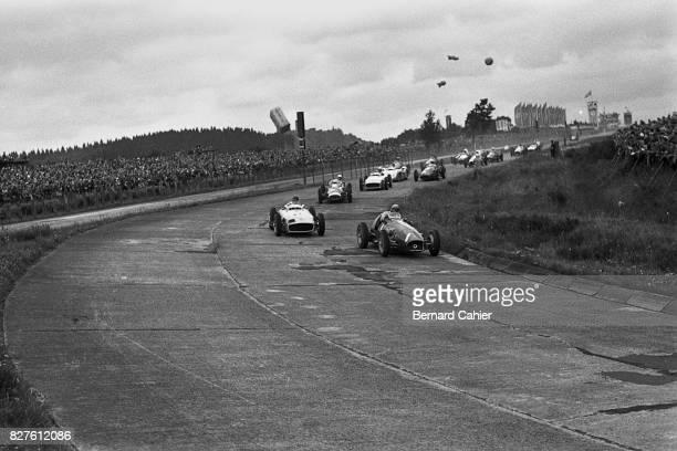 Froilan Gonzalez Juan Manuel Fangio Stirling Moss Ferrari 625 Mercedes W196 Grand Prix of Germany Nurburgring 01 August 1954