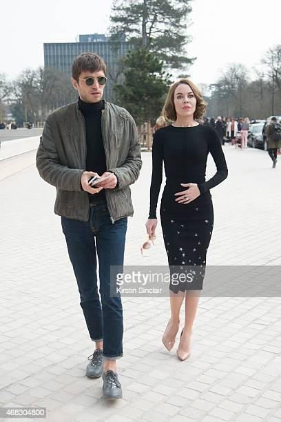 Frol Burimskiy with Fashion Designer and Photographer Ulyana Sergeenko wears a Ulyana Sergeenko dress Christian Louboutin shoes and Sonia Rykiel...
