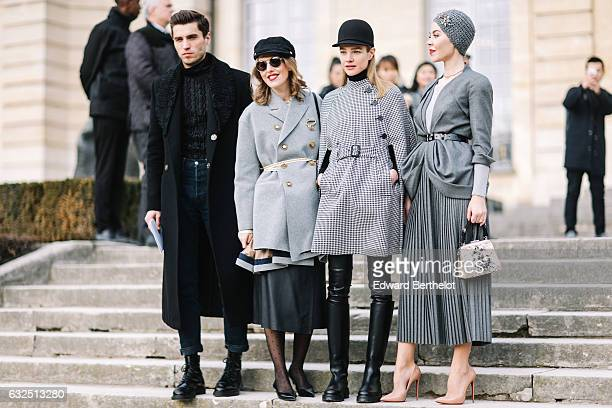 Frol Burimskiy Xenia Sobchak Natalia Vodianova and Ulyana Sergeenko attend the Christian Dior Haute Couture Spring Summer 2017 show as part of Paris...