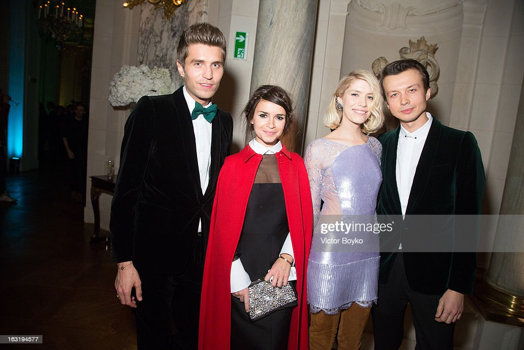 Frol Burimsky, Miroslava Duma, Lena Perminova and German Larkin attends 'CR Fashion Book Issue 2' - Carine Roitfeld Cocktailas part of Paris Fashion Week at Hotel Shangri-La on March 5, 2013 in Paris, France.