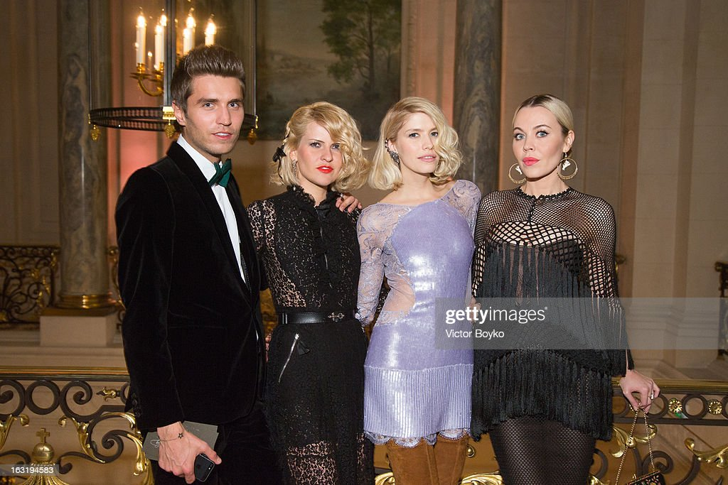 Frol Burimsky, Polina Kitsenko, Lena Perminova and Uliana Sergeenko attends 'CR Fashion Book Issue 2' - Carine Roitfeld Cocktailas part of Paris Fashion Week at Hotel Shangri-La on March 5, 2013 in Paris, France.
