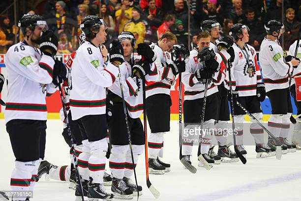 Frolunda Gothenburg players look dejected after the Champions Hockey League Final match between Lulea Hockey and Frolunda Gothenburg at Coop...