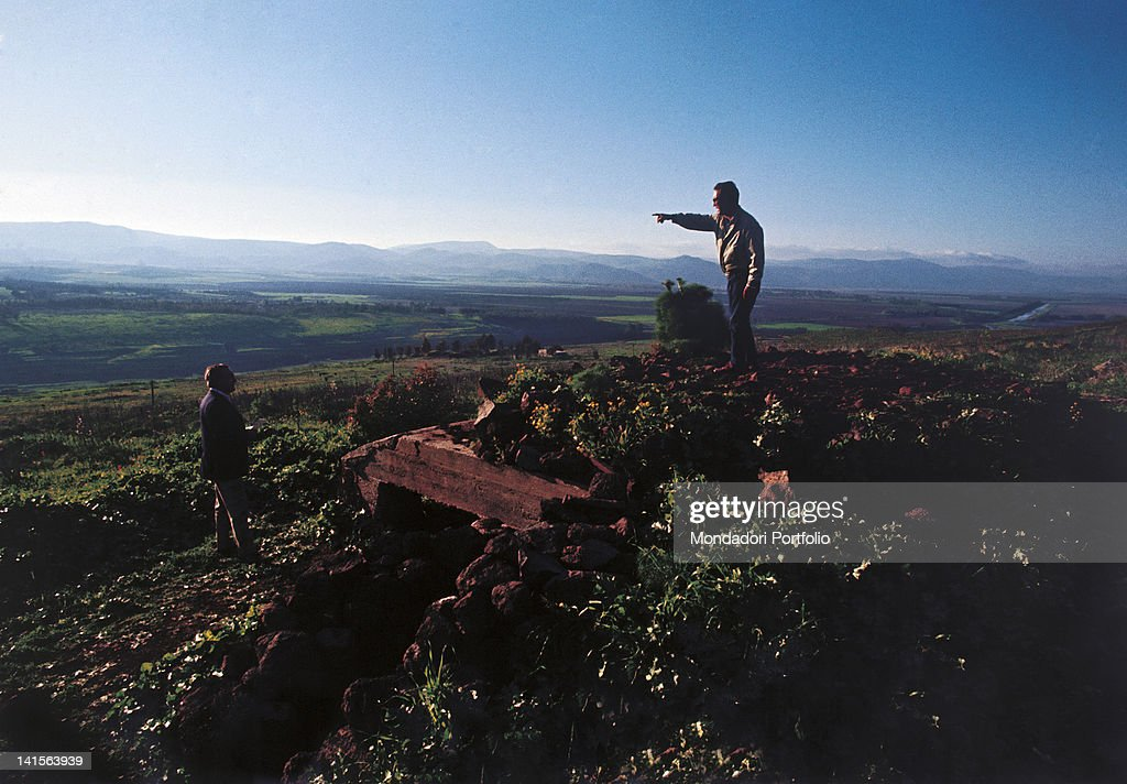 From a casemate besieged on June 5 an Israeli officer indicates the west where Hula Valley lies Syria occupied territories 1971