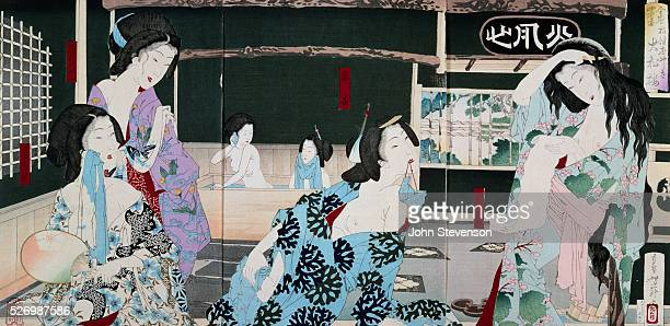 From a series by Yoshitoshi illustrating the four seasons this bathhouse scene represents summer The courtesans of the elegant Daishoro brothel in...