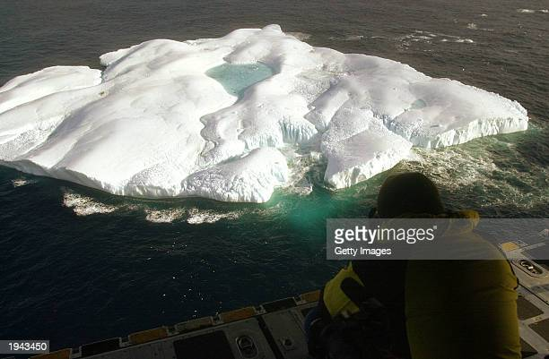 From an altitude of 500 feet a photographer captures an image of an iceberg from the cargo ramp of a Coast Guard Hercules C130 Aircraft April 21 2003...