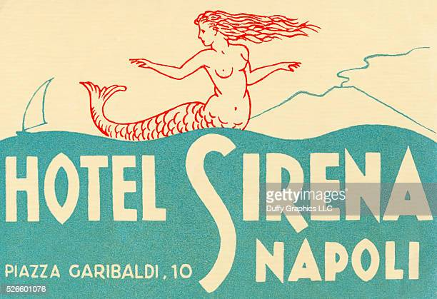 From around 1949 this item is like a small poster advertising travel to a hotel and identify luggage pictured mermaid on the bay of Naples with...