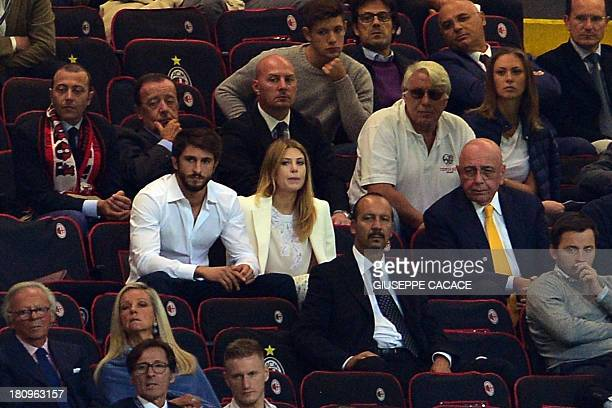 AC Milan's sporting director Adriano Galliani former Prime Minister's daughter Barbara Berlusconi and her boyfriend attend the Champions League...