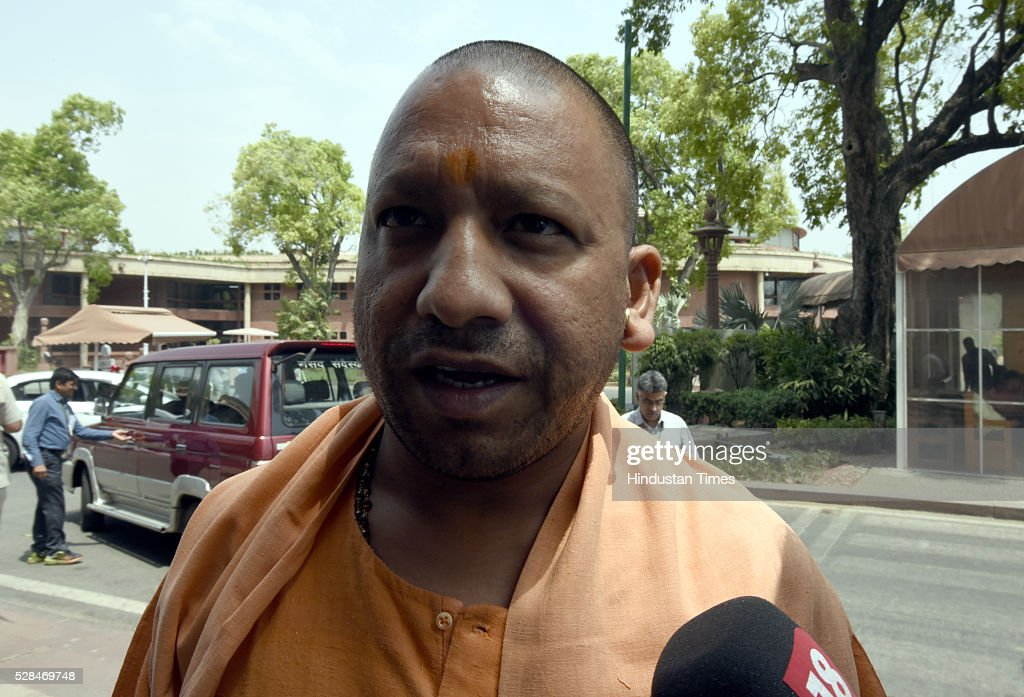 MP from Gorakhpur Yogi Adityanath arrives for the Parliament Session at Parliament house on May 5, 2016 in New Delhi, India. The Lok Sabha has passed the Insolvency and Bankruptcy code 2016 with all the amendments proposed by the joint committee of Parliament being accepted by the government.