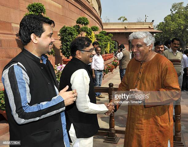 MP from Hamirpur Himachal Pradesh Anurag Thakur with BJP leader Tarun Vijay and Rajya Sabha Javed Akhtar at the Parliament during Budget Session on...