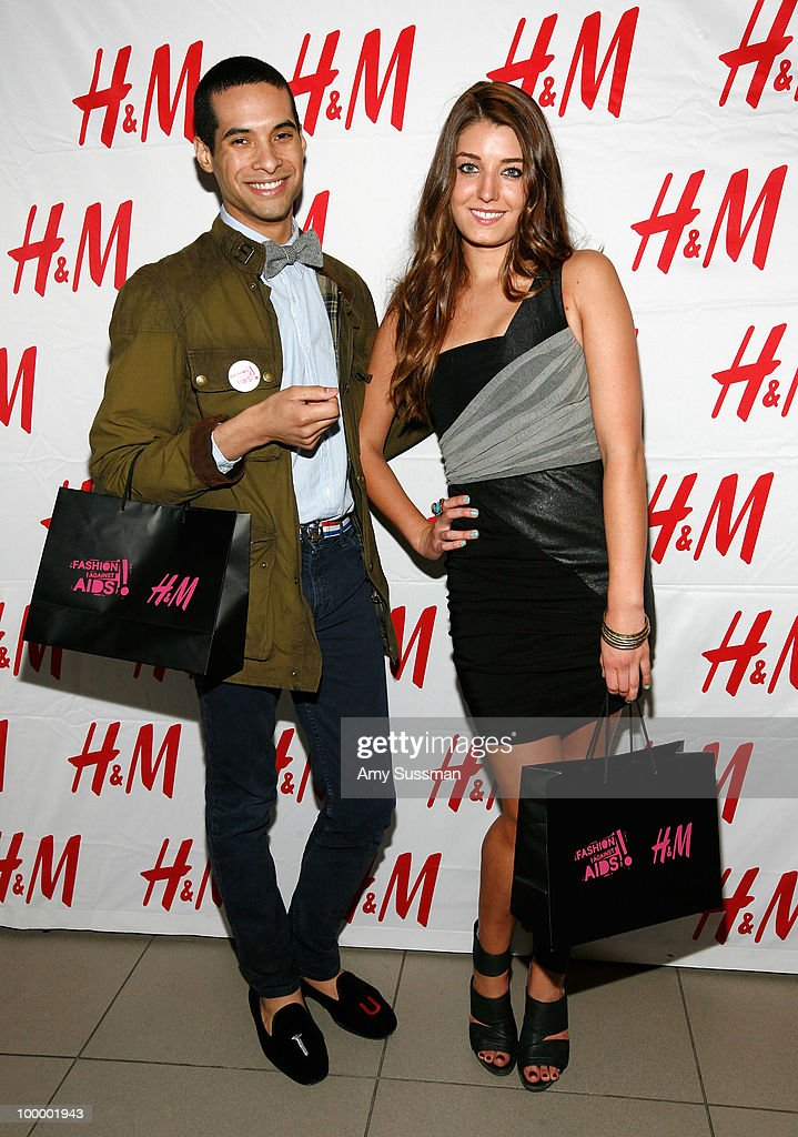 From High society, Paul Johnson-Calderon (L) from The City, Samantha Swetra (R) attend H&M's launch of Fashion Against AIDS at H&M Fifth Avenue on May 19, 2010 in New York City.