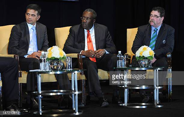 From Indian cricket player Rahul Dravid Clive Lloyd and David Boon appear at the ICC Gala Dinner convened during the ICC Annual Conference held at...