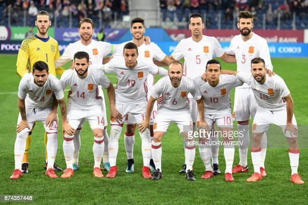 Spain's goalkeeper David de Gea Sergio Ramos Marco Asensio Sergio Busquets Gerard Pique from L 1st row Suso Nacho Rodrigo Moreno Andres Iniesta...