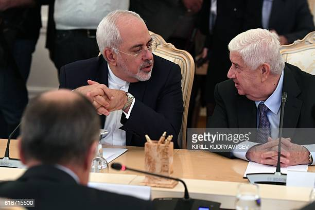 Foreign Ministers Sergei Lavrov of Russia Mohammad Javad Zarif of Iran and Walid Muallem of Syria hold a meeting in Moscow on October 28 2016 / AFP /...