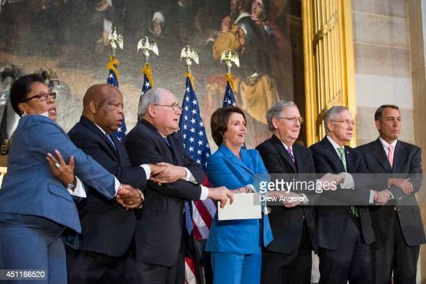 From L Rep Marcia Fudge Rep John Lewis Sen Carl Levin House Minority Leader Nancy Pelosi Senate Minority Leader Mitch McConnell Senate Majority...