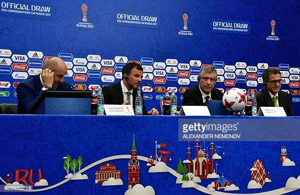 Russia's coach Stanislav Cherchesov New Zealand's coach Anthony Hudson Portugal's coach Fernando Santos and Mexico's coach Juan Carlos Osorio attend...