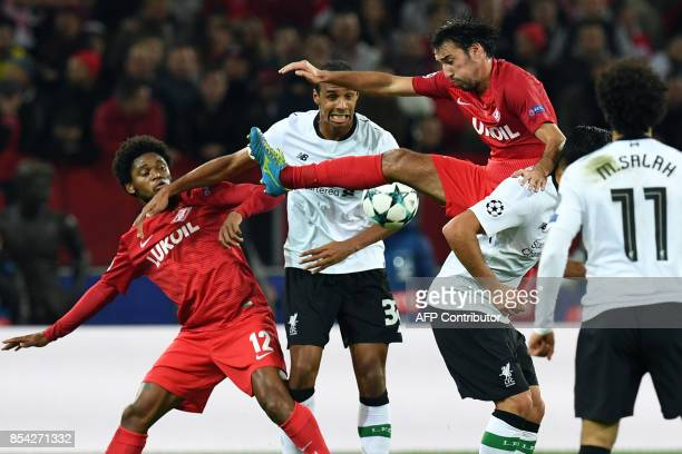 Spartak Moscow's forward from Brazil Luiz Adriano Liverpool's defender from Cameroon Joel Matip and Spartak Moscow's midfielder from Bulgaria Ivelin...