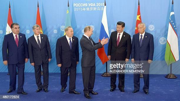 Tajikistan's President Emomali Rahmon Kyrgyz President Almazbek Atambayev Kazakhstan's President Nursultan Nazarbayev Russian President Vladimir...