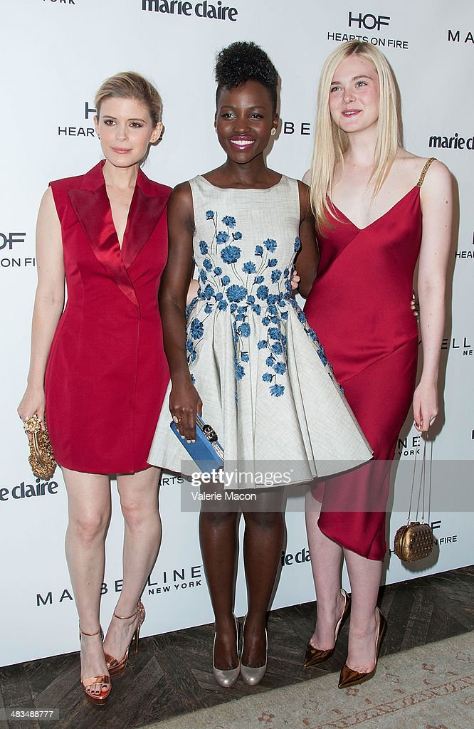 Actresses Kate Mara, Lupita Nyong'o and Elle Fanning arrive at the Marie Claire's Fresh Faces Party at Soho House on April 8, 2014 in West Hollywood, California.