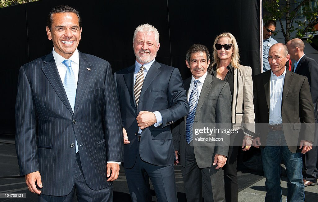Antonio Villaraigosa, Keith Brackpool, Laffit Pincay Jr, Bo Derek and Gary Stevens attend the Breeders' Cup Press Conference at Nokia Plaza L.A. LIVE on October 25, 2012 in Los Angeles, California.