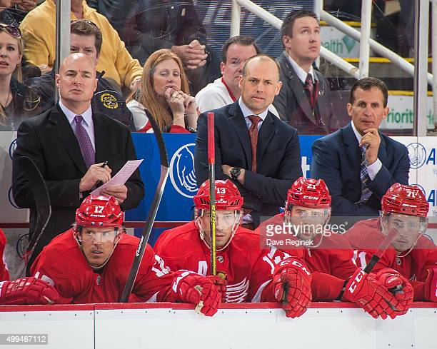 From L to R assistant coach Pat Ferschweiler head coach Jeff Blashill and of assistant coach Tony Granato watch the action from the bench the Detroit...