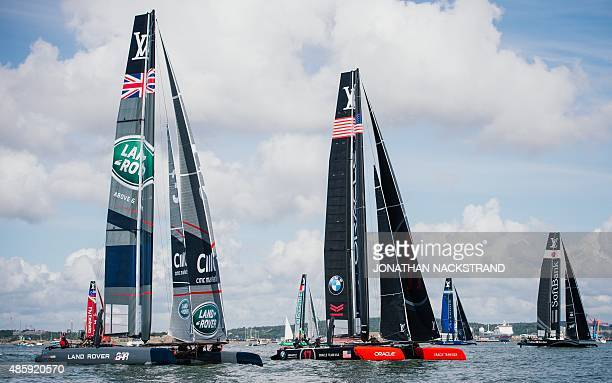 From L to R Emirates Team New Zealand Team Land Rover BAR Britain Groupama Team France Oracle Team USA Team Artemis Racing Sweden and SoftBank Team...