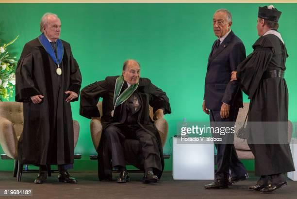 From L to R Former Portugal's Prime Minister Dr Francisco Pinto Balsemao His Highness Shah Karim alHussaini Prince Aga Khan Portuguese President...