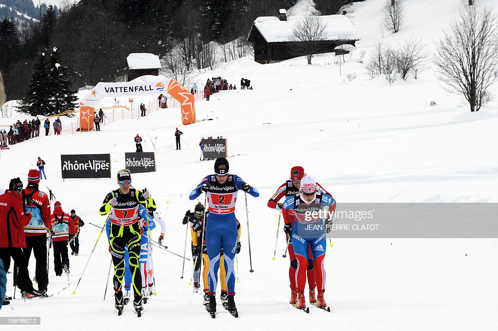 From L to R, French Aurore Jean, Finn Anne Kylloenen and Russian Julia Tikhonova compete in the Ladies's Nordic skiing combined World Cup relay (4 x 5 km) on January 20, 2013 in La Clusaz, eastern France.
